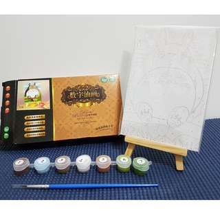 Totoro watercolour paint set (with mini canvas and wooden easel for display)