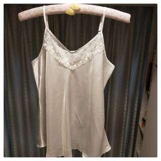 透膚蕾絲涼感睡衣組-白XL(現貨)