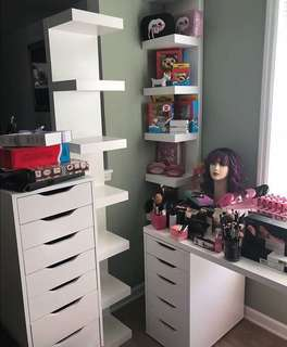 Vanity/ makeup drawers, shelves