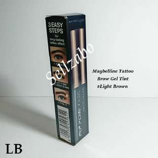LB : Tinted Brow Gel : Maybelline : Tint : Eyebrow Hint : Tatoo : Eyes : Eyesbrow : Shade : Colour : Makeup : Cosmetics : Tattoo : #Light Brown : Sellzabo