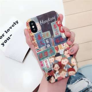 免郵2018 ig同款香港插畫創意全包軟殼手機殼 iPhone case