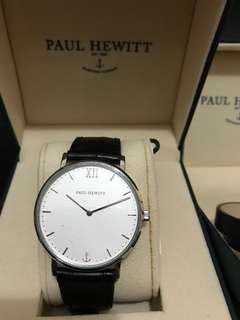 Paul Hewitt Sailor Line Stainless Steel Standard White Sand Leather Strap Black Croco ( + North Bound Wrap Bracelet Stainless Steel Black )