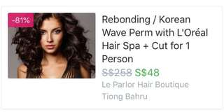 Fave voucher for rebonding/perm + cut