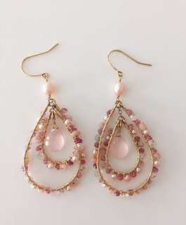 Rose quartz, pearls & tourmaline earrings