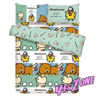 Yes Zone 卡通精品 San-X鬆弛熊Rilakkuma 正版 雙人三件套床笠蓓莎全綿被套四件套床單