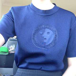 Versace bootleg navy blue mock neck top