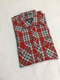 H&M Flannel Checkered Red Pattern