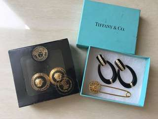 New Versace Vintage Earing Limited Edition Free Brooch and another earrings