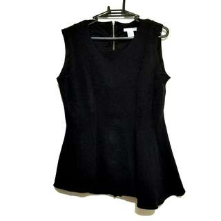 H&M Peplum Assymetric Top with Zipper Up Design at the Back