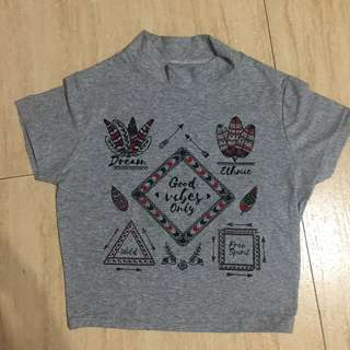 Gray bohemian shirt (Good vibes)
