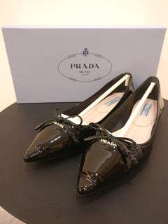 AUTHENTIC Prada Patent Leather Pointy Flats Size 35.5