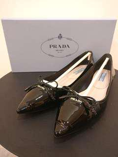 REPRICED AUTHENTIC Prada Patent Leather Pointy Flats Size 35.5