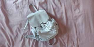 White Faux Leather Mini Backpack
