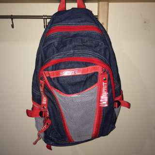 ESPRIT backpack with denim and PVC detail!
