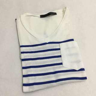 Korean Blue Striped T Shirt