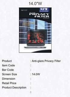 Privacy Screen Protector - 14""