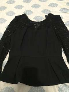 Forever 21 Black Lacey Peplum Top