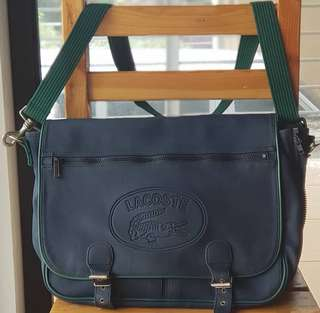 Authentic Lacoste Classic Navy and Green Messenger/Laptop Sling with zippered expandable body