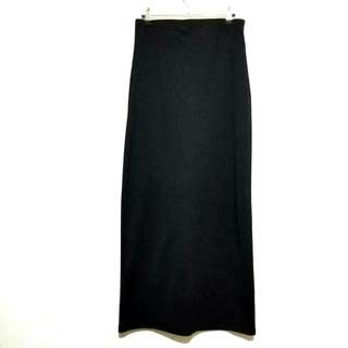 Long Black Pencil Cut Skirt with Back Slit