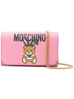 Moschino Teddy playboy WOC wallet bag pink
