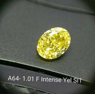 1.01 Oval Fancy Intense Yellow GIA