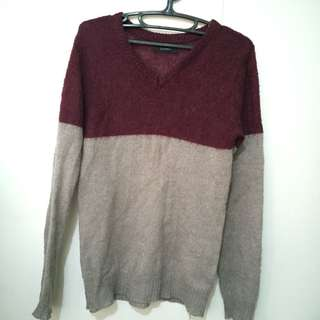 Maroon-Gray Knitted Sweater