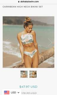 Carribean High neck bikini set by Aloha kai