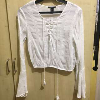 Forever21 White bell sleeve top