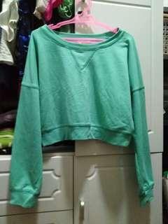 Blue green cropped sweatshirt