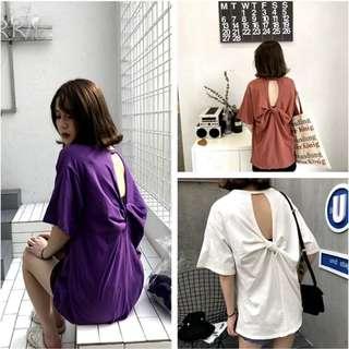 (269元專區)韓版復古簍空露背寬鬆百搭纯色圓領短袖棉質T恤