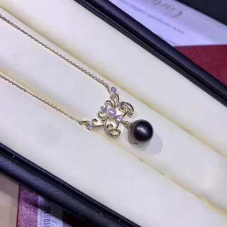 天然原色大溪地海水黑珍珠