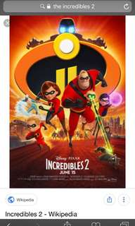 Rush sale! The incredibles 2 movie ticket