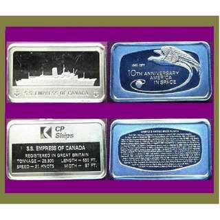 ♦ USA, Franklin Mint - 1 Pair. 2x 1000gr Grains (3.855 Oz Troy 999) Fine Silver chunky Ingot art bars