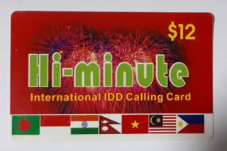 Prepaid International IDD calling card