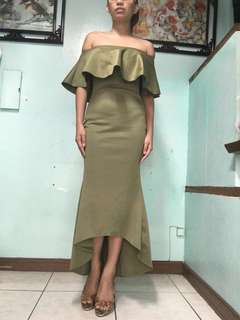 Olive green  Dress gown evening frills mermaid long tube offshoulder