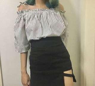 H&M Striped Off-Shoulder Top