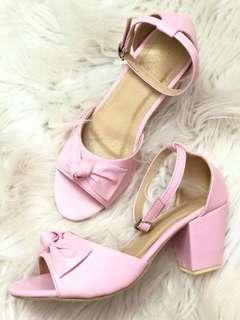 Rydax pink ribboned block heels