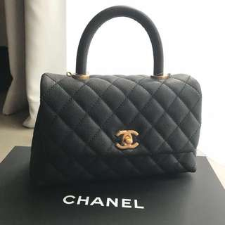 Chanel 黑金全牛皮Coco Handle 24cm small size 保卡25