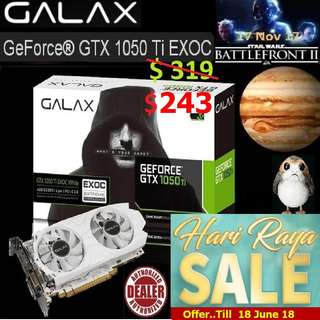 "GALAX GTX 1050 TI EXOC WHITE 4GB GEFORCE®.. (  Hari Raya Sales Till.. 18 June.. 2018 ) "" Hurry Grab it while Stock Last.."""