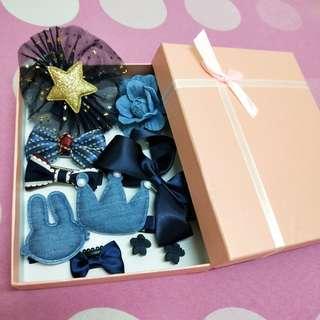 🚚 可愛藍色系髮飾10件組