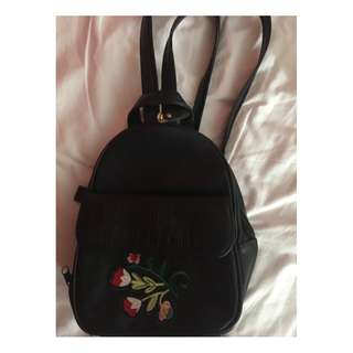 Black Leather Backpack with Patch