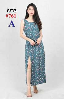 PRINTED MAXI DRESS SLIT 761#