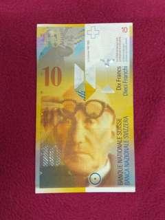 Switzerland 10 francs 1995 Corbusier portrait