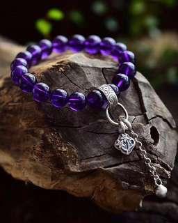 天然紫水晶🔮手鏈+925銀流蘇