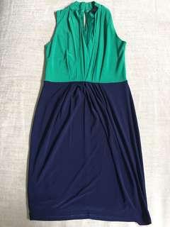 Details Green and Blue Sleeveless Dress