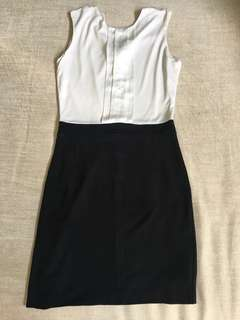 Mango Black and White Sleeveless Dress