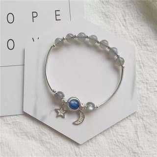天然拉長石+藍晶石 925銀星星月亮🌜吊墜