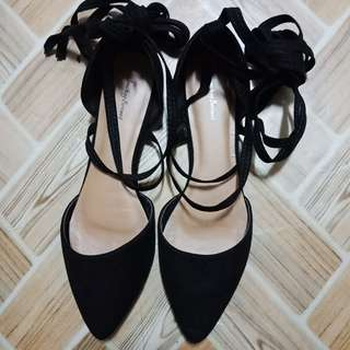 (repriced) Laced pointed flat shoes