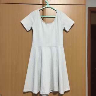 Embossed Textured White Skater Dress