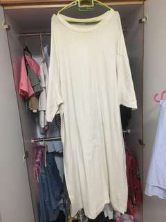 White long T shirt dress